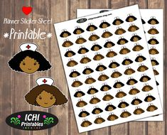 Cute Nurse Planner Stickers, Printable Doctor Appointment Sticker, Black Girl, African American, Erin Condren, Print & Cut, Functional by Ichiprintables