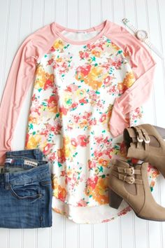 better----- peach but without as much green; still could go with less orange; price is good; Floral Tunic w/ Solid Sleeves $25