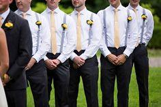 Groomsmen attire, suspenders and tie, navy blue suspenders, yellow wedding, Navy Blue Suspenders, Suspenders And Tie, Yellow Wedding, Summer Wedding, Dream Wedding, Wedding Colors, Groomsmen Boutonniere, Groom And Groomsmen, Groomsmen Fashion