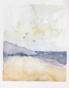 Paysage de plage facile à la peinture aquarelle #aquarelle #peinture Watercolor, Abstract, Artwork, Watercolour Paintings, Beach Scenery, Easy Watercolor, Water Paint Art, Projects, Pen And Wash