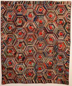 """Wool Spiderweb Log Cabin Quilt Circa 1870; measures 70"""" x 84""""; Pennsylvania origin"""