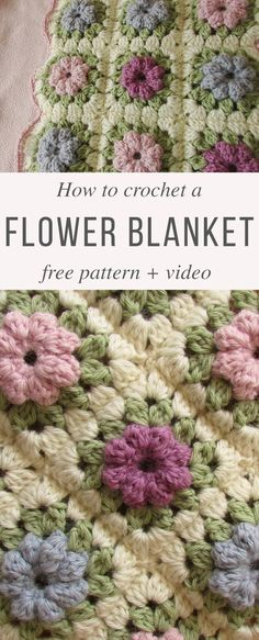 Crochet Flowers Patterns Puff Flower Blanket Free Crochet Pattern Video Tutorial - If you like learning and making new crochet blankets, you will love this puff stitch flower pattern I'm showing you today. It is simple and beautiful at the same time. Crochet Flower Squares, Crochet Puff Flower, Granny Square Crochet Pattern, Crochet Flower Patterns, Afghan Crochet Patterns, Crochet Granny, Crochet Motif, Crochet Flowers, Free Crochet