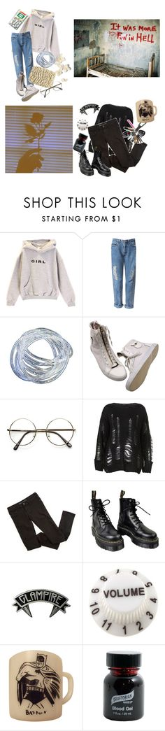 """""""💗--i'm a little bit lost without you"""" by alpacainfluencer ❤ liked on Polyvore featuring Dr. Martens, Kreepsville 666, Graftobian, vintage, OC, roseywrites, roseyscharacters and thamian"""