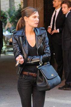 Ponytail/Leather Jacket/V Neck Black Tshirt/Black Skinny Jeans