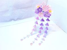 kimono hair accessory chirimen kanzashi hair pin (purple+ pink) | eBay