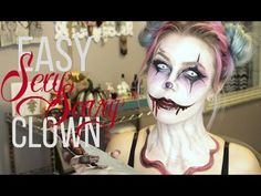 Easy Sexy/Scary Clown Makeup | UnlimitedElizabeth - YouTube Clown Costume Diy, Halloween Clown, Clown Party, Scary Costumes, Diy Halloween Costumes, Halloween Designs, Halloween Makeup, Costume Ideas, Easy Clown Makeup