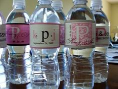 How to make homemade water bottle labels. (Apparently, Avery makes labels that work well and also has free templates for download).