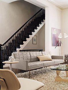 Tuxedo Sofa with Bronze Legs BassamFellows for Geiger / Herman Miller - Clare   Bluff - Place Textiles