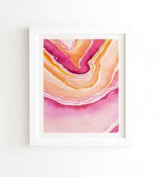 Pink Agate Framed Wa