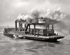 """The Detroit River circa 1905. """"Transfer steamer Detroit."""" Yet another view of this workhorse of the waterways. Detroit Publishing glass negative"""