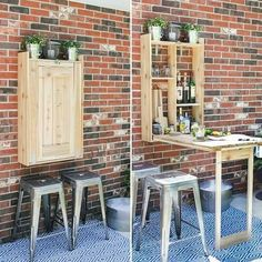 beverages Last year I designed and built this outdoor cedar Murphy bar. This is a great addition to any patio and can be used to serve up beverages or even as a grill prep station! Small Patio Ideas On A Budget, Diy Outdoor, Balcony Decor, Home, Outdoor Kitchen Design, Diy Patio Furniture, Backyard Decor, Diy Garden Furniture, Bars For Home
