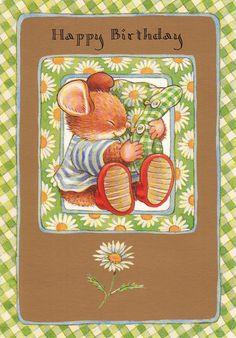 Cute Hallmark Country Companions Mouse ~ Birthday card | eBay