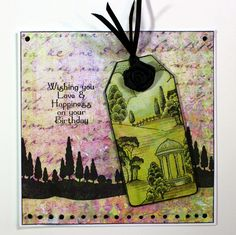 Quick and easy card created with Landscape Edges, Sunburst Scenes, Country Views and Birthday Words stamp sets from Chocolate Baroque. The background paper is from Crafty Individuals (Travels in Italy). Anne Waller #chocolatebaroque #stamping #cardmaking