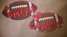 Football with players name and number. Great dorm door decoration or good for lockers.