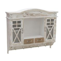 Rustic style wooden wall cabinet in white and beige. A furniture of high aesthetics and a great addition for your living area. Country Decor, Decor, Wooden Walls, Furniture, Wall Cabinet, Home, Exclusive Furniture, Cabinet, Home Decor