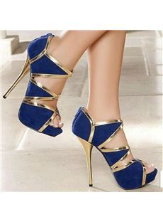 Fashionable Blue & Golden Contrast Colour Coppy Leather High Heel Sandals