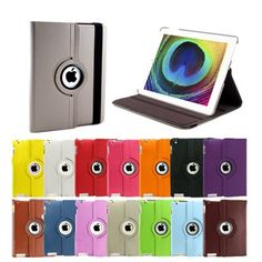 Great Cases For Your Gadgets -  The Gadget Case Zone  Grey 360 degrees Rotating Swivel Magnetic Smart Leather Stand Cover Case iPad 2
