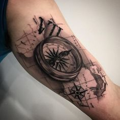 Compass Tattoo Inner Bicep
