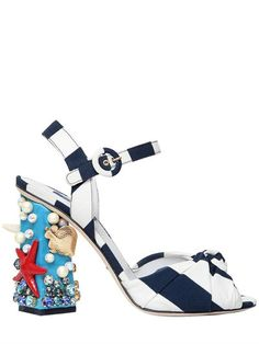 DOLCE & GABBANA - 105MM KEIRA SEA EMBELLISHED CADY SANDALS - WHITE/BLUE