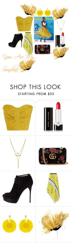 """You Are My Sunshine"" by joyander ❤ liked on Polyvore featuring Maticevski, Marc Jacobs, Lord & Taylor, Gucci, Burberry, self-portrait, Oscar de la Renta and yellow"