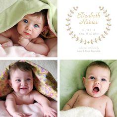 Birth Announcements, Leaf Love Rose Design