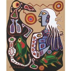 By Norval Morrisseau, SPIRIT SHAMEN WITH TOTEM THUNDERBIRD, Made of oil on canvas kp
