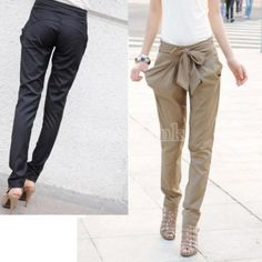 Sexy Women Fashion Harem Skinny Long Trousers OL Casual Slim Bow Pants    I WANT THESE SOOO BAD!!!  $8.15 in black size Asian L/US M