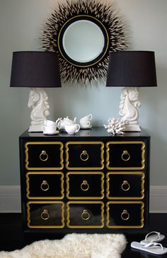 Janice Minor porcupine quill mirror   (Eclectic meets Art Deco meets today.  I like the equestrian themed lamps. csz)