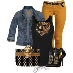 Mustard jeans outfit NOT the scary purse Mustard Jeans Outfit, Yellow Jeans Outfit, Mustard Yellow Pants, Fashion Mode, Cute Fashion, Fashion Outfits, Casual Fall Outfits, Cool Outfits, Looks Black
