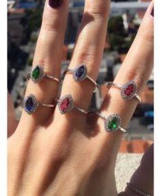 aneis com pedras rubi safira esmeralda semi joias