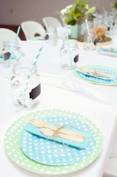 Blue baby christening 1st birthday party bear children for Decoration bapteme garcon