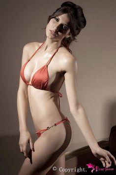 cfef86a0c2 Red Straps Bra Top and Strip with Buckle Bottoms Bikini Set Push Up Bikini