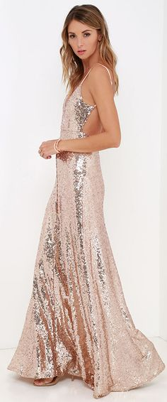Ignite the night and charm all you encounter in the Charismatic Spark Gold Sequin Maxi Dress! Sequins bedazzle this stunning open-back maxi dress. Rose Gold Gown, Rose Gold Sequin Dress, White Dress, Bridesmaid Dresses, Prom Dresses, Formal Dresses, Moda Outfits, Sequin Maxi, Holiday Dresses