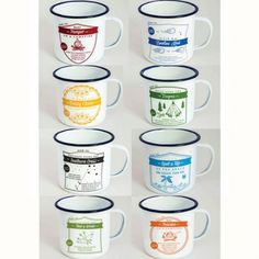 8 ENAMEL CUPS  Each with an illustrated how to for the outdoors, including how to make camp pancakes http://tmod.com.au/product/x-8-enamel-cups-collection