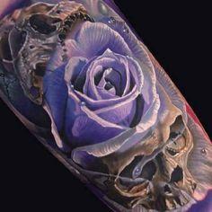 Tattoo Skull with Purple Rose in 3D   #Tattoo, #Tattooed, #Tattoos