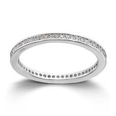 Stilren ring i rhodinert sølv med cubic zirkonia Ring