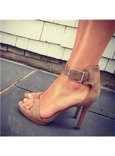 Concise Brown Suede Ankle Strap Buckle Dress Sandals