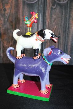 Another Small Tower of Dogs & Rooster Ideal for Childs room! Mexican folk Art