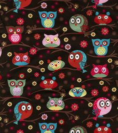 Novelty Quilt Fabric Owls In Trees