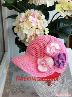 """Бейсболка """"Орхидея"""" крючком для девочки - Вязание для детей - Страна Мам"""