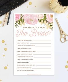 Bridal shower games httpsetsylisting46113743276 bridal how well do you know the bride bridal shower game wedding shower pink floral print at home us a4 sizes instant download solutioingenieria Gallery