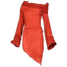 Preowned Vintage Jean Paul Gaultier Burnt Orange Suede Asymmetrical... ($850) ❤ liked on Polyvore featuring dresses, orange, tunics, cowl neck dress, vintage dresses, red asymmetrical dress, red bell sleeve dress and red off shoulder dress