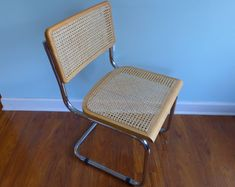 Vintage Cesca Side Chair Cane and Chrome Cantilever Dining Chair Marcel Breuer Style Mid Century Modern Light Maple Finish 2 Available