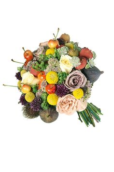 Bouquet (alliums, craspedia, Cappuccino and Quicksand roses, astrantias, lychees, figs and cherries