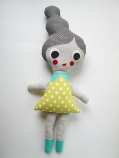 Grey Haired Cloth Doll with Citron Yellow Polka Dotted Dress by Molipop Spoonflower, Doll Clothes, Hello Kitty, My Design, My Etsy Shop, Polka Dots, Dolls, Yellow, Trending Outfits