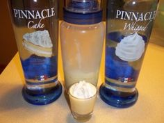 Twinkie Shot ~ 1 1/2 ounce Pinnacle Whipped Vodka, 1 1/2 ounce Pinnacle Cake Vodka, 1 1/2 ounce 1/2 & 1/2, simple syrup or sugar to taste, whipped cream to taste, 3 dashes vanilla extract, 2 drops of yellow food coloring. This yields about 4 Twinkie shots.