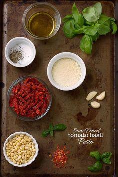 Homemade Sun-dried tomato pesto - so much more flavorful when you make it at home and cheaper too! #tomatopesto #tomatobasilpesto #pesto   Littlespicejar.com