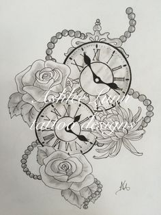 Black and white clocks with roses, chrysanthemums and beads. The clocks were the times her two children were born