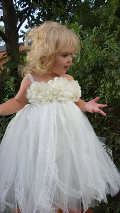 Cream & Lace Flower Girl Gown by PomegranateKids on Etsy, $60.00