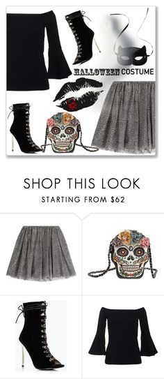 """DIY Halloween Costume"" by andrejae ❤ liked on Polyvore featuring RED Valentino, Mary Frances Accessories, Boohoo, H&M, halloweencostume and DIYHalloween"